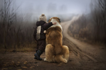 Russian Mother Takes Magical Pictures of Her Two Kids With Animals On Her Farm | Bored Panda By